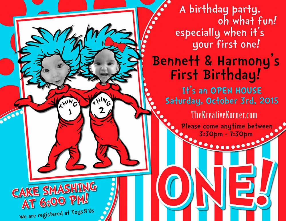Thing 1 Thing 2 My Twins 1st Birthday Party The Kreative Korner – Twin 1st Birthday Invitations